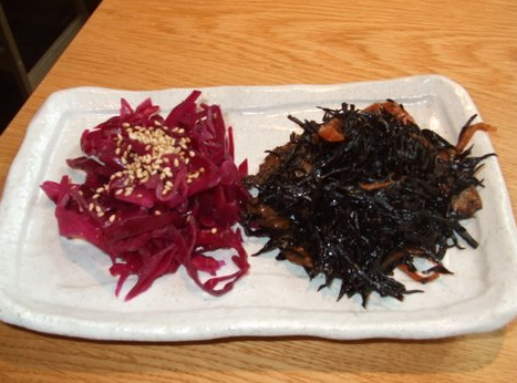 Hijiki seaweed salad and some red cabbage sesame salad