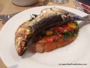 Cornish Scrowlers on Tomato Bruschetta