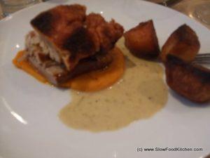 Roast pork, butternut squash and roast potatoes
