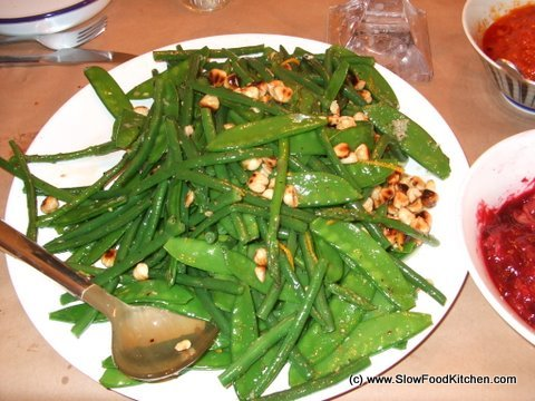 French Beans & Mange-tout with Hazelnut & Orange