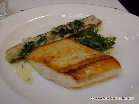 Roast Halibut with Razor Clams Les Deux Salons