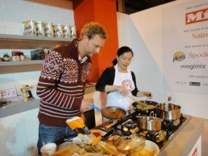 Alex checking out the pork stir fry