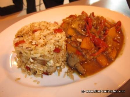 Stir fried pork and garlic fried rice