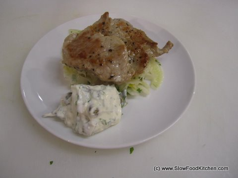 Pan fried Medallions of Pork with TOTAL Greek Yoghurt Gribiche and Fennel