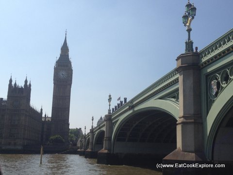 View of Big Ben and Westminster Bridge from the river