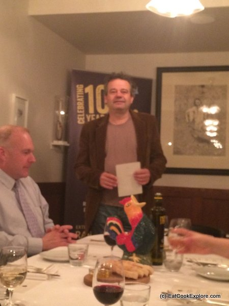 Mark Hix introducing the menu at Hixter