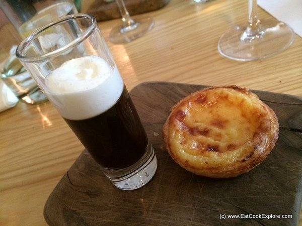 Pasteis des nata egg custard tart with a Bebinca inspired coconut pudding with coffee jelly and Kahlua