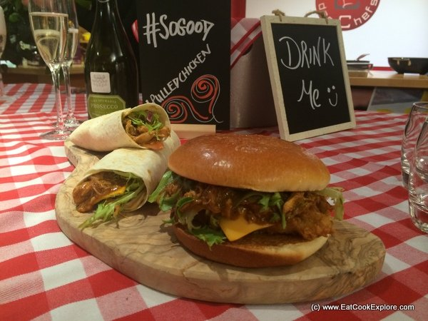 KFC Pulled Chicken wrap and burger