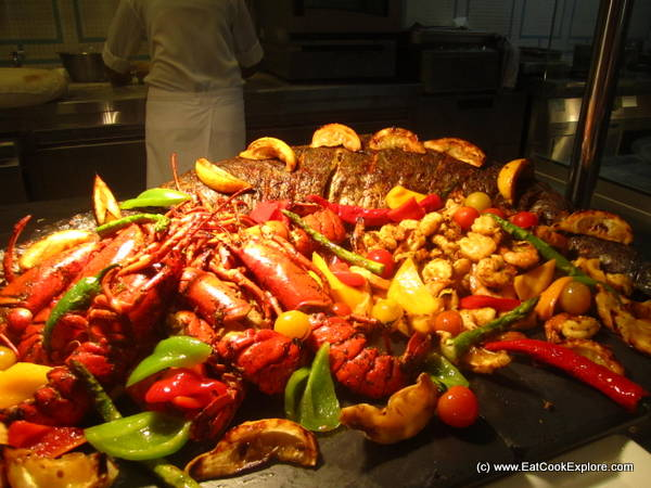 Friday Bruch at the Ritz Carlton -King Fish and a mountain of lobster at the Caravan Restaurant