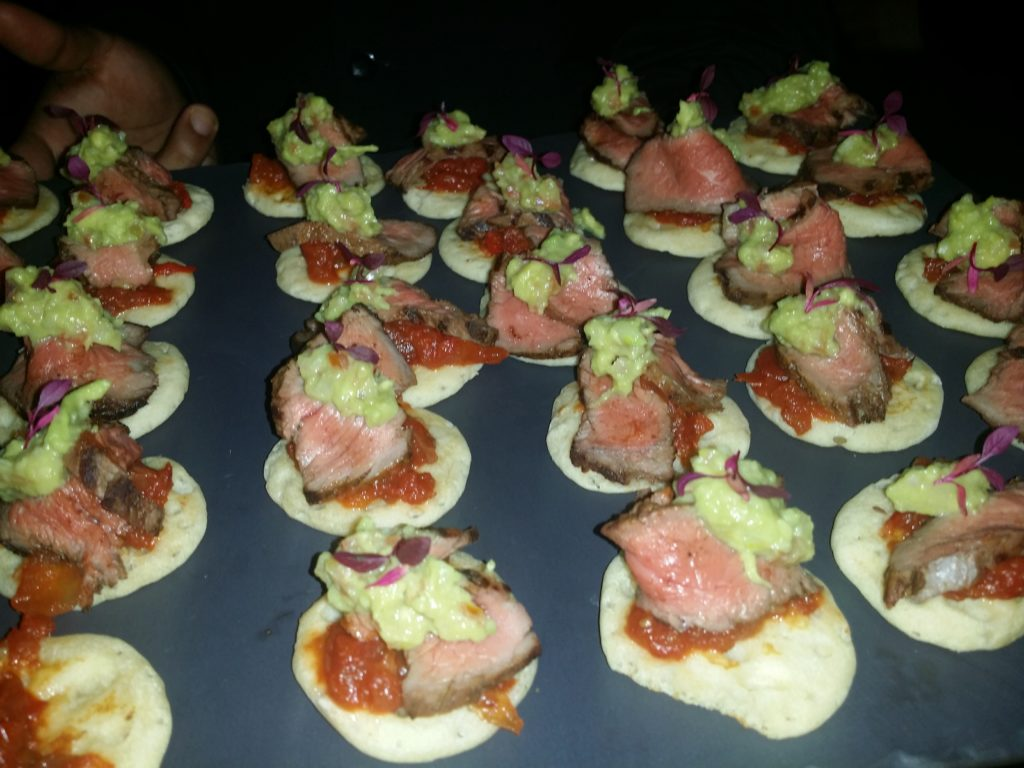 Spiced beef blini