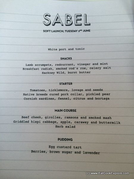 Sable Food Popup Sample Menu