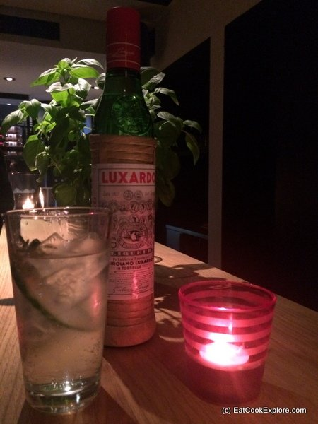 The Luxardo Fresco - Luxardo Maraschino, tonic water, fresh lemon juice, cucumber, rosemary and a spray of absinthe