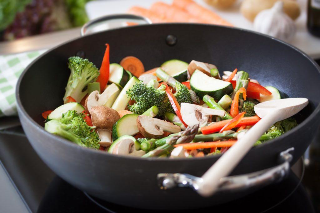 stri fry in a wok