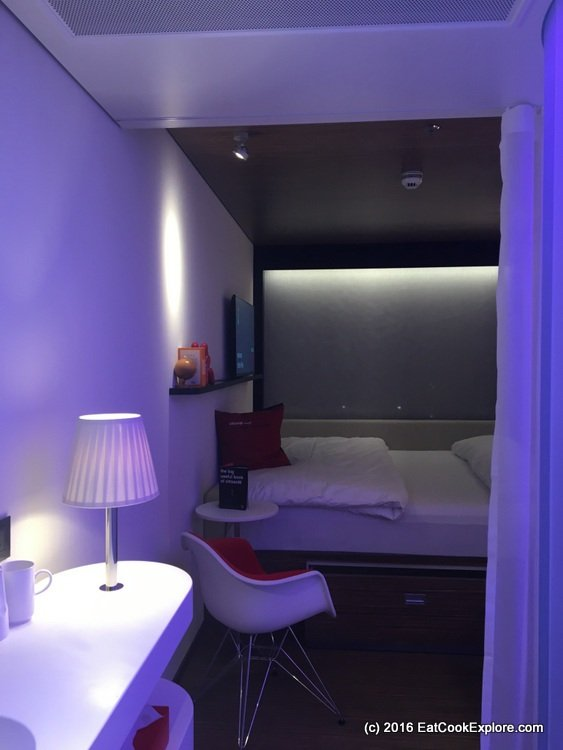 citizenm Room bathed in mood lighting