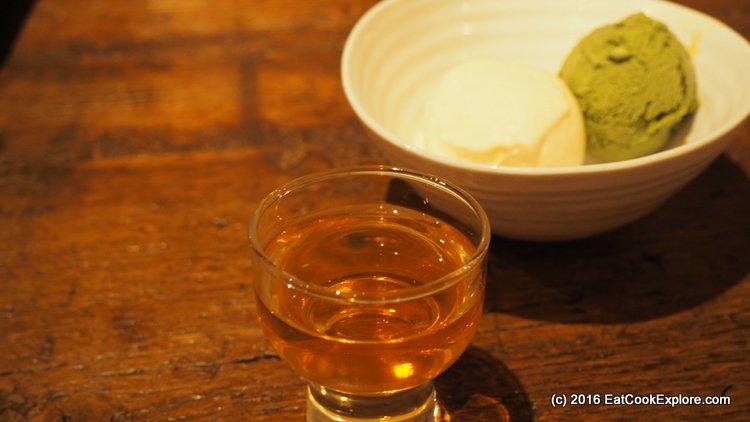 Miso and green tea ice cream with plum wine