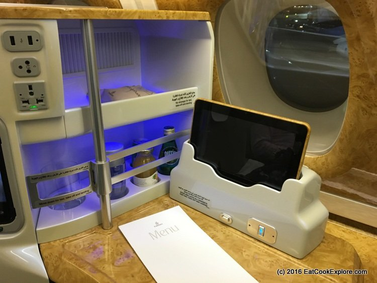 Emirates-business-class seat with mini bar