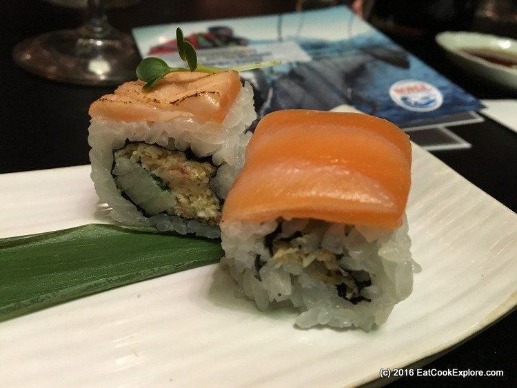 Blow torched salmon  maki sushi