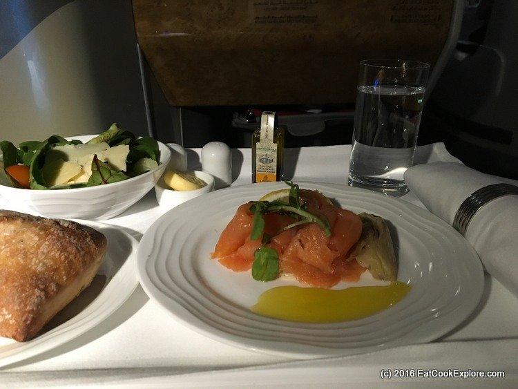 emirates-business-class meal Scottish Peat Smoked Salmon