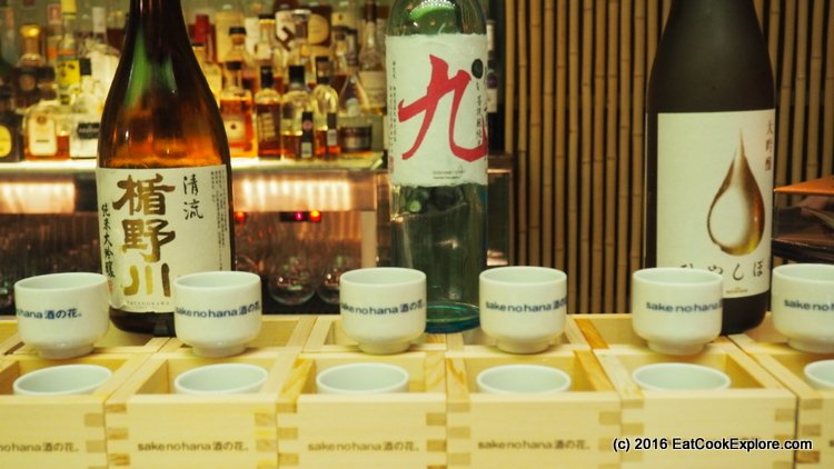 Selected sake paired with the salmon dishes on the menu