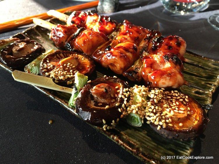 Aqua Kyoto Yakitori skewers of chicken and shitake mushrooms