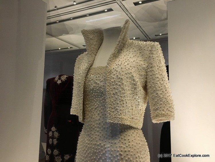 """The Elvis Dress"" another Catherine Walker creation based on an Elizabethan neckline."