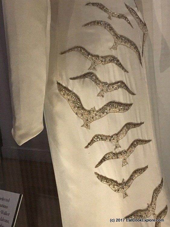 Worn by Princess Diana on a visit to Saudi Arabia. This dress is emridered with falcons, the national bird of Saudi Arabia.