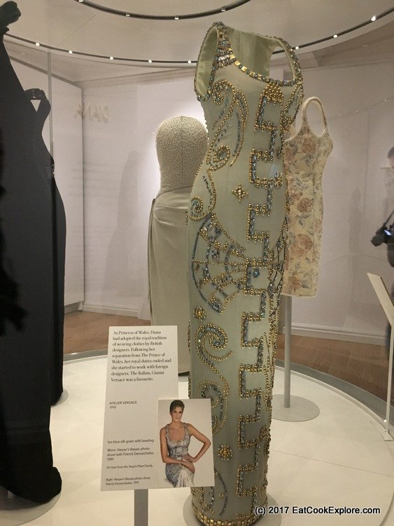 That Versace dress and the famous portrait of Princess Diana.
