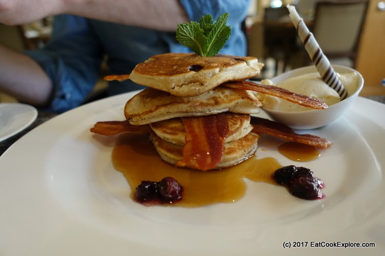 Stock of blueberry pancakes at Book and Brunch Lowndes Bar and Kitchen