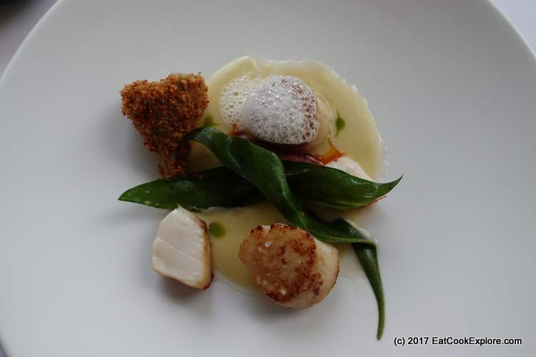 Scallops, sea aster, globe artichoke, white bean, chorizo The River Room Galgorm Resort and Spa
