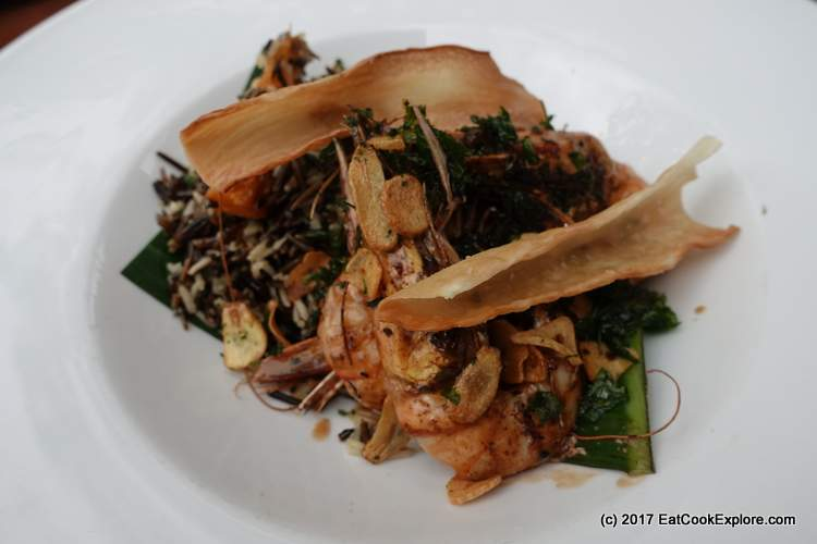 Grilled Prawns with dirty rice
