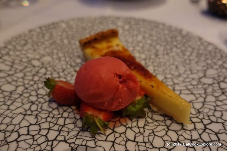 Lemon tart with raspberry sorbet
