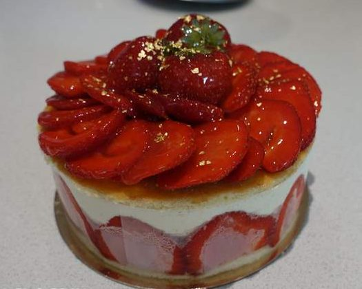 Fraisier cake with fresh strawberries