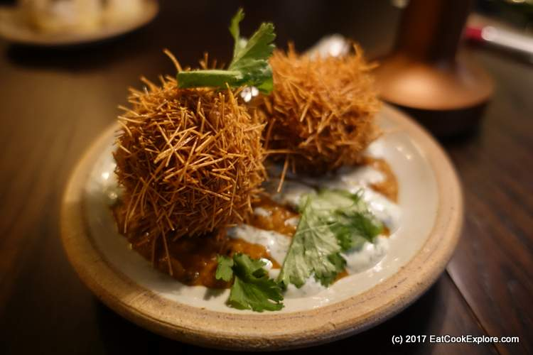Masala spiced scotch egg with Dahl relish at The Wigmore Tavern at The Langham Upper Regent Street (186)