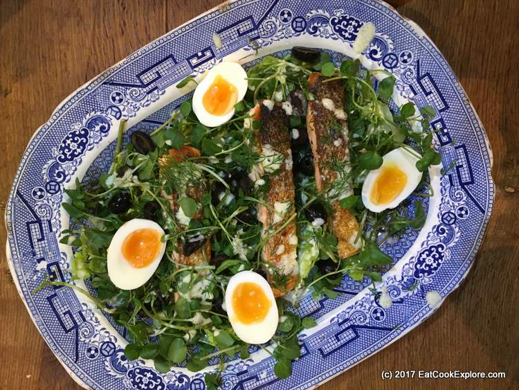The Almost Nicoise Salad: Pan fried salmon salad using the lazy ginger