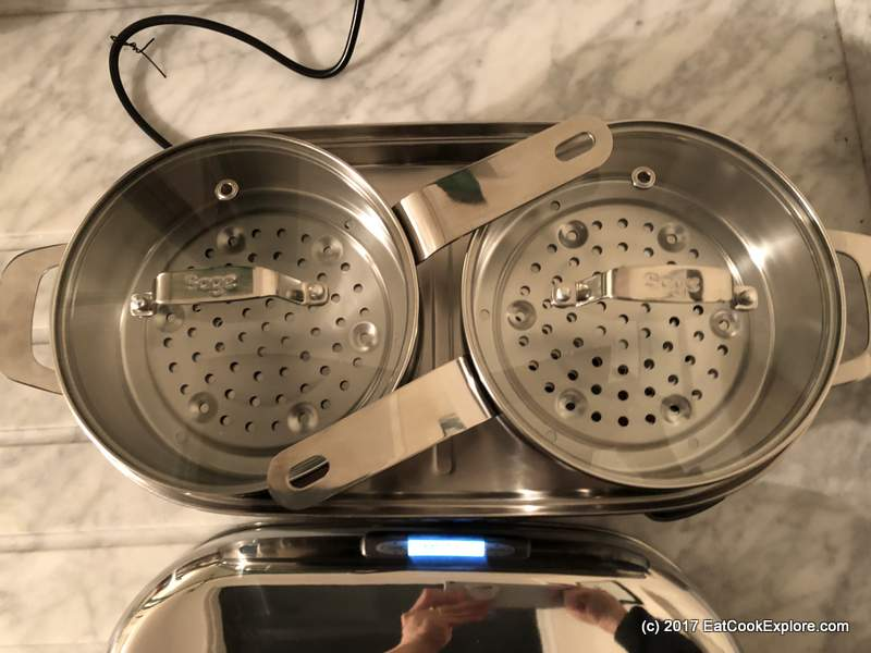 2 stainless steel steam baskets in one layer - The Steam Zone