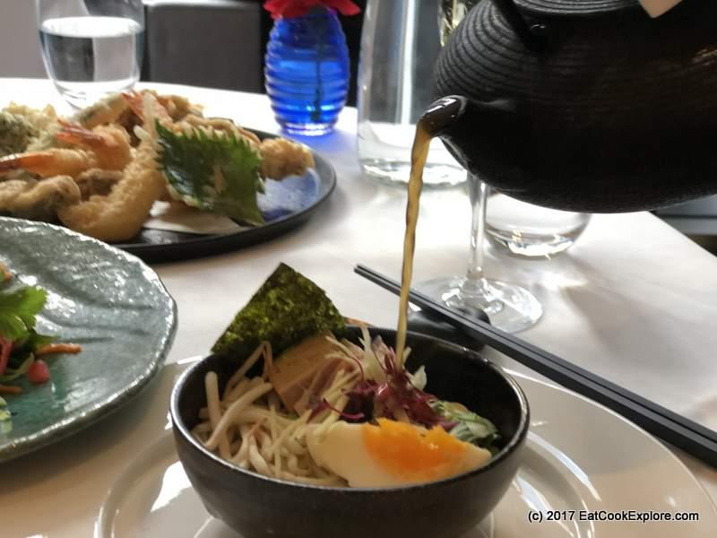 Devonshire Club Roast pork belly, chilli and coriander ramen