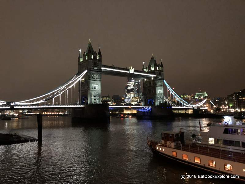 View of Tower Bridge at Night.