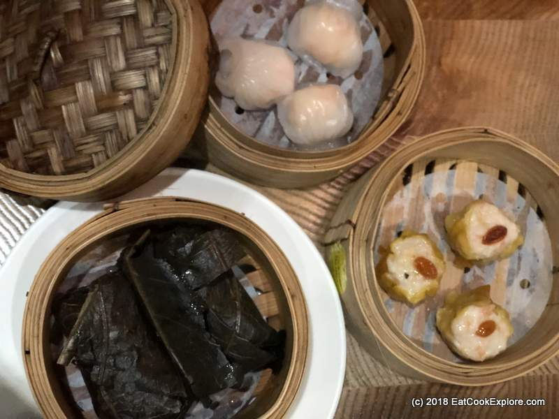 The must orders: Har gau, su mai and glutinous rice in lotus leaves