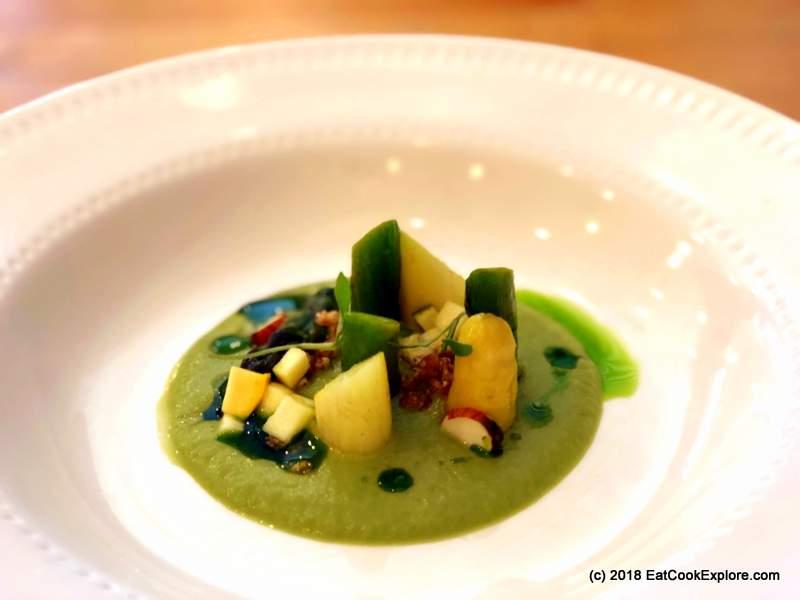 The Field Restaurant Hackney Zucchini, White Asparagus, Barley, Almonds