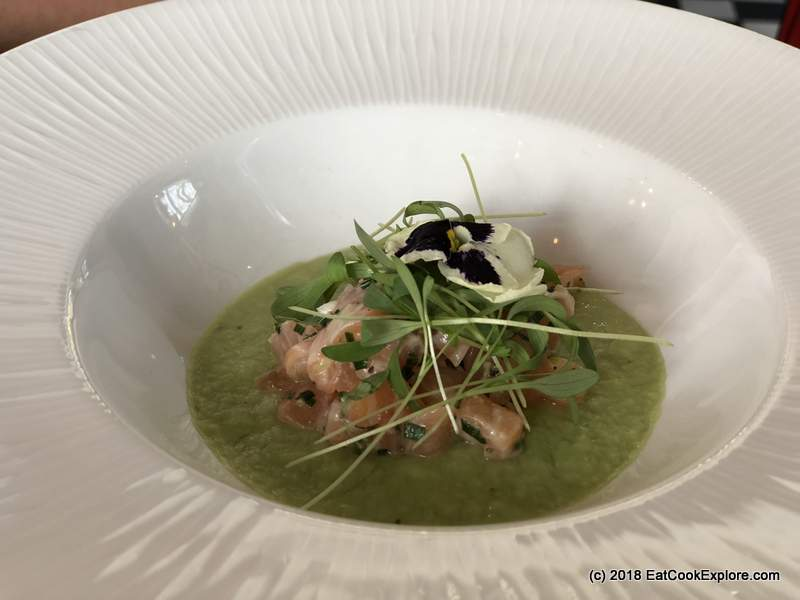 Green gaspacho with salmon tartare