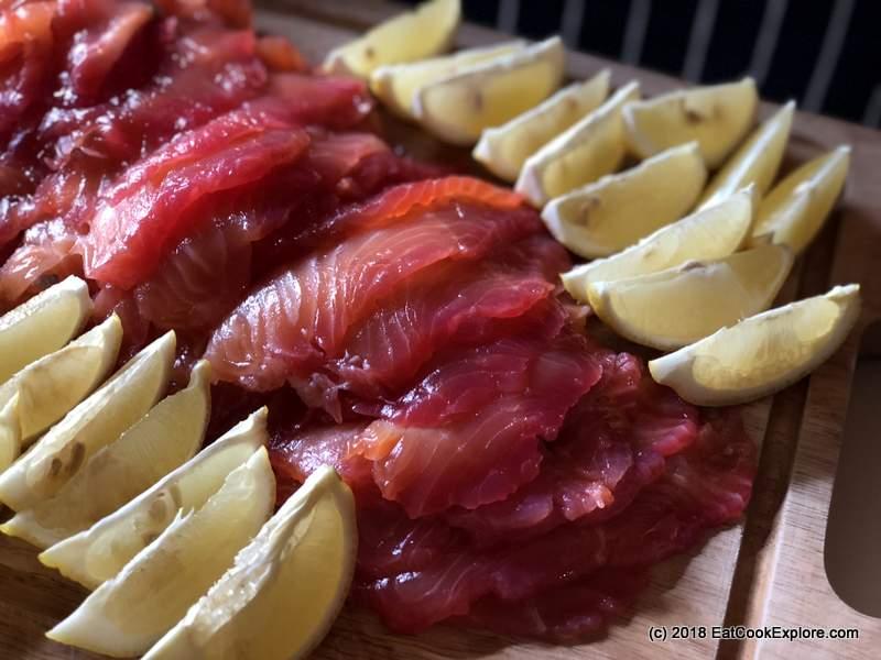 Beetroot, rose and elderflower cured salmon