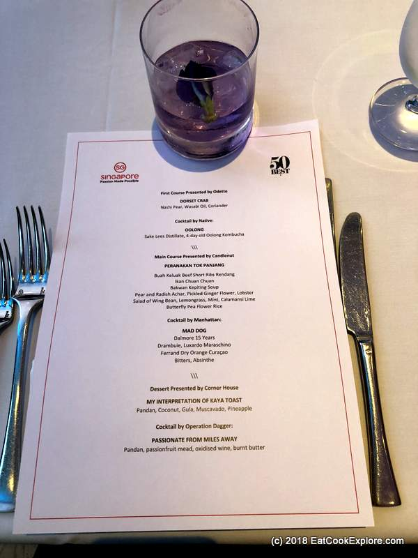 World's 50 best Singapore Tourism with a blue pea sake cocktail