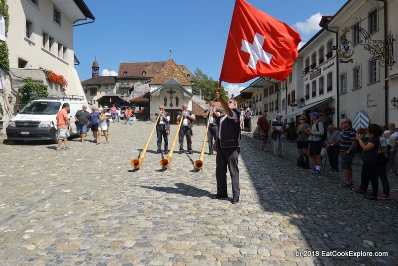 Medieval Town Gruyeres Flag Throwing