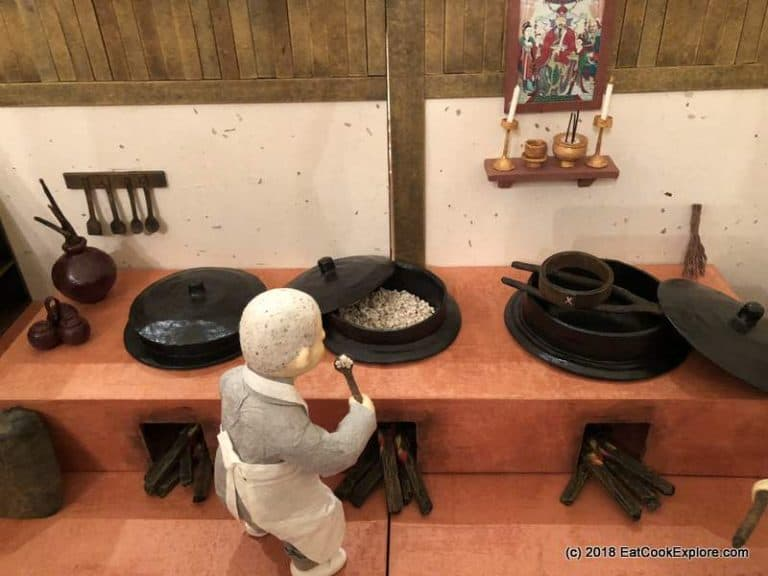 Handmade paper models of a typical Korean temple kitchen