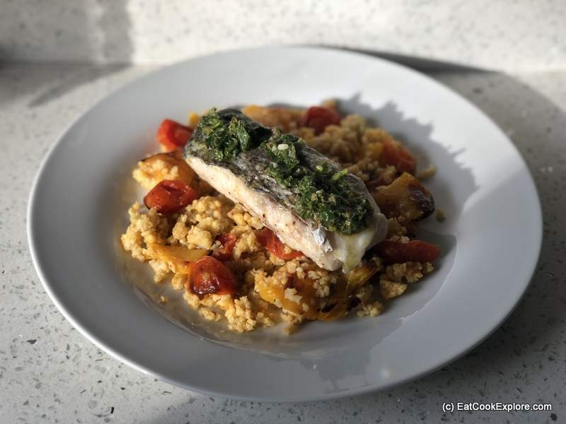 Mindful Chef Hake with Salsa Verde, Millet & tomato