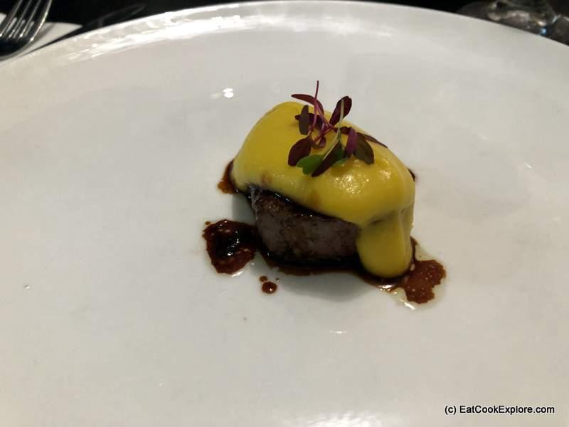 Asado Rib-eye marinated in palo santo sauce, yacon