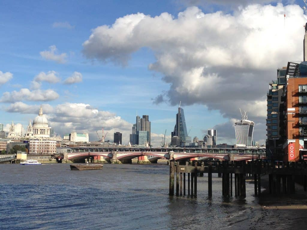view of city of london across the Thames